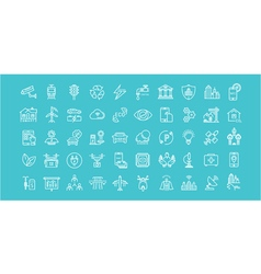 Smart city line icons 6 3 vector