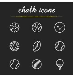 Sport balls chalk icons set vector