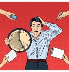 Stressed pop art business man holding big clock vector