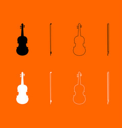 Violin black and white set icon vector