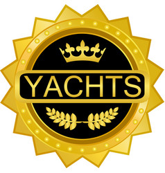 Yachts gold icon vector