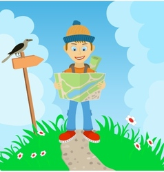 Young boy tourist with a backpack check the route vector image vector image