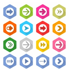 Flat arrow icon set hexagon web button vector