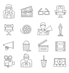 Black line cinema icons set vector