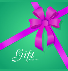 Gift bow wide violet ribbons four petals vector