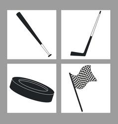 set sport equipment black and white vector image