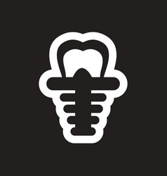 stylish black and white icons tooth implant vector image