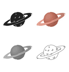 Saturn icon in cartoon style isolated on white vector