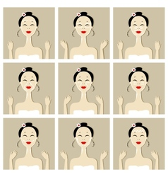 Face massage with asian woman for your design vector