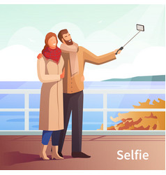 Autumn walk selfie background vector