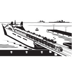 Rail freight wagons are loaded on ferry boat vector