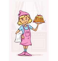 Little girl cooking sweet vector