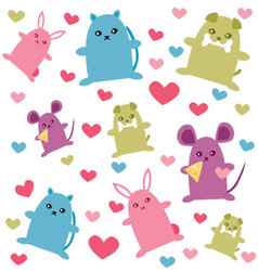 Cute animals pattern vector