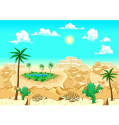 Desert with oasis vector