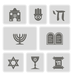 Monochrome icons with jewish symbols vector