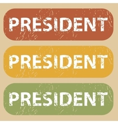 Vintage president stamp set vector