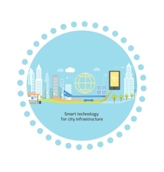Smart technology in infrastructure of city vector