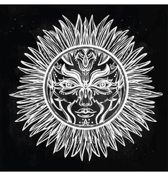 Ornate romantic pagan sun symbol vector