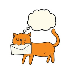 Cartoon cat carrying letter with thought bubble vector