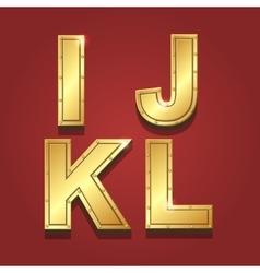 Gold letters alphabet font style I J K L vector image