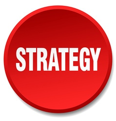 Strategy red round flat isolated push button vector