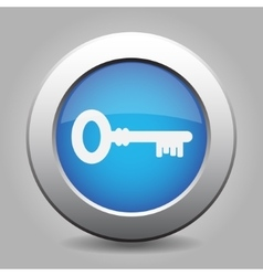 Blue metal button with key vector