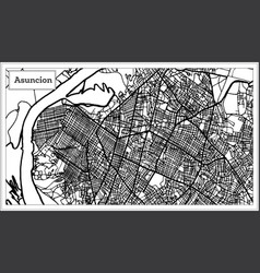 Asuncion paraguay city map in black and white vector