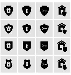 Black home security icon set vector