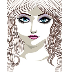 Brunette girl with blue eyes vector image vector image