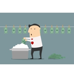 Cartoon businessman laundering illegal money vector