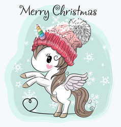 cute cartoon unicorn in a hat vector image vector image