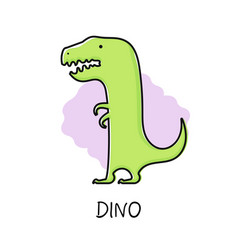 cute funny dino flat hand vector image