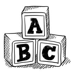 Doodle building blocks kid vector