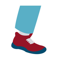 Foot male with red shoe design vector