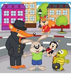 Fox gangster in city vector