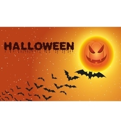 Halloween background with flying bats over moon vector