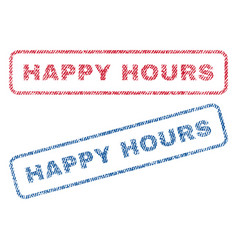 Happy hours textile stamps vector