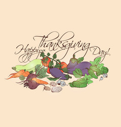 Happy thanksgiving day horizontal poster with vector