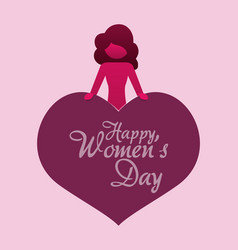 Happy womens day girl heart greeting vector