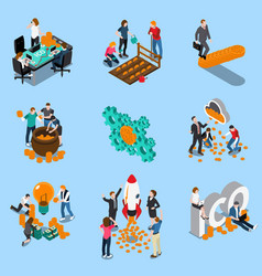 Initial coin offering isometric icons vector