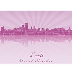 Leeds skyline in purple radiant orchid vector image