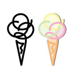 line drawing of ice cream in a waffle cone vector image vector image