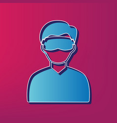 Man with sleeping mask sign blue 3d vector