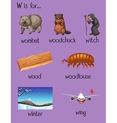 Many words begin with letter w vector