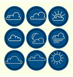 meteorogical icon set clouds sun moon outlines vector image
