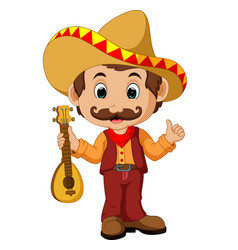 Mexican cartoon character with guitar vector
