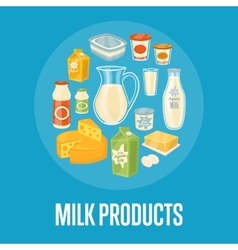 Milk products banner with dairy composition vector image
