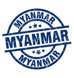 myanmar blue round grunge stamp vector image