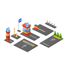 parking lot isometric 3d of vector image