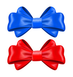 Red and blue silk ribbon bows decoration element vector